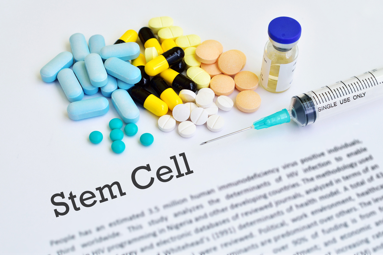 Stem cell therapy, blurred text, medical concept
